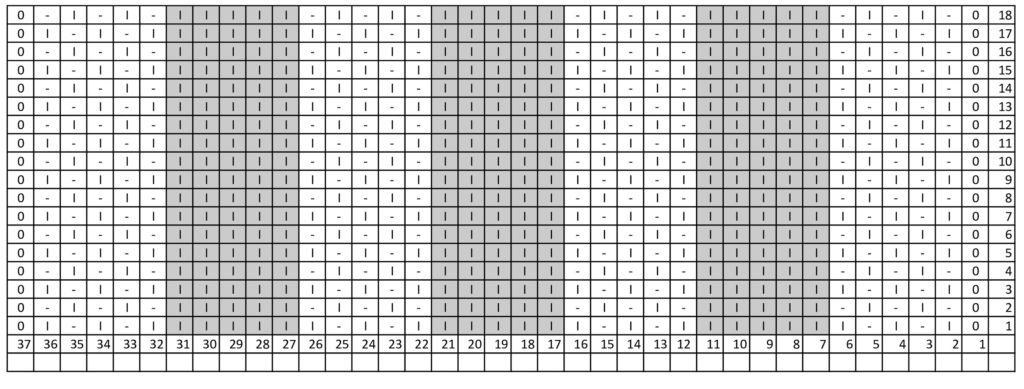 схема узора из платочных рядов и резинки 1х1