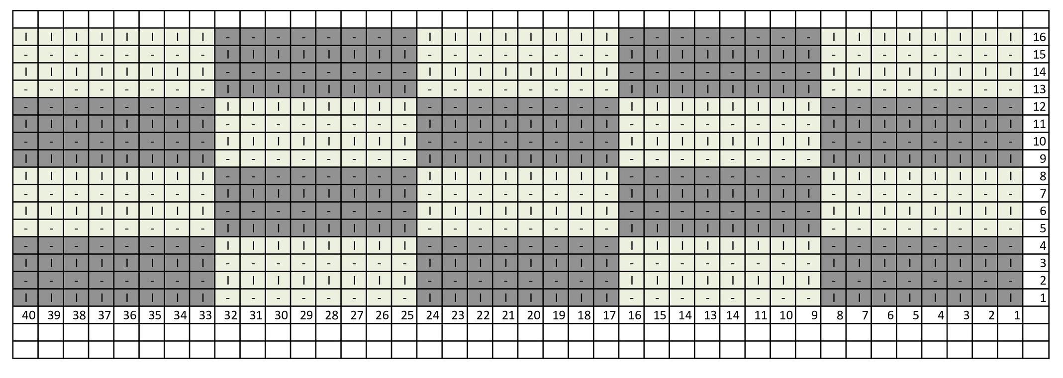 Схема вязания шахматки из горизонтальных прямоугольников