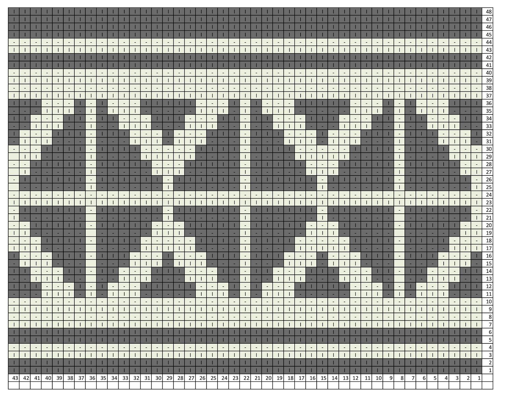 Схема вязания узора из лицевых и изнаночных петель