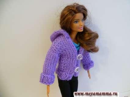вязание кофты с капюшоном для куклы