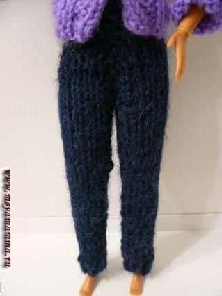 Вязаные брюки для Барби на спицах