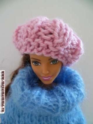Вязаные шапочки для куклы. Берет.