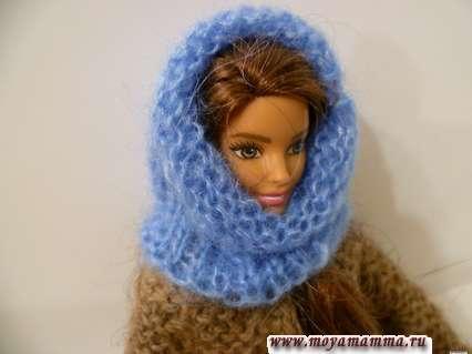 Вязаная шапка - шарф для куклы