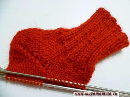 Вязание пятки - бумеранг укороченными рядами