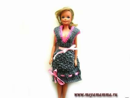 Сарафан для куклы спицами