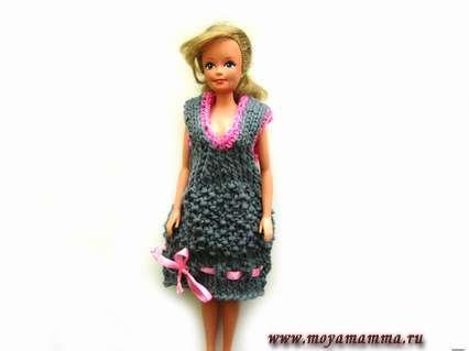 Вязаное платье сарафан для куклы барби