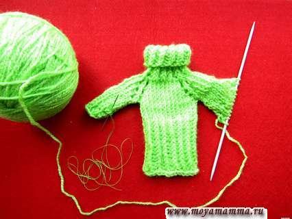 Вязание рукава реглан для платья куклы