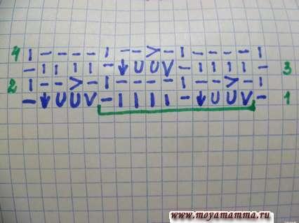 Схема простых ажурных рядов для палантина