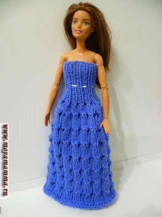 длинное вязаное платье для барби с описанием
