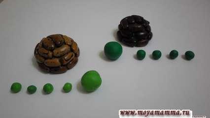 Детали из пластилина для лапок черепахи