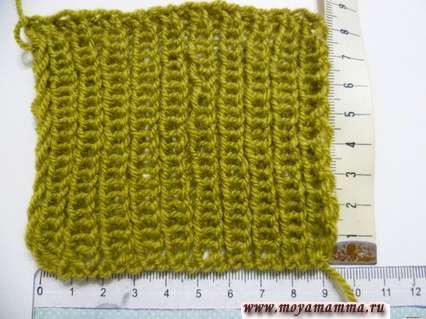 Образец резинки 1 х1 для вязания шарфа