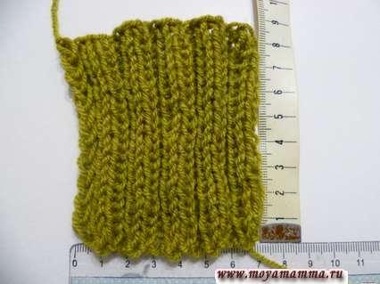 Образец резинки 2 х 2 для вязания шарфа