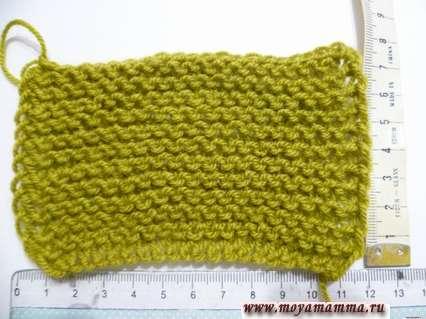 Образец платочной вязки для вязания шарфа