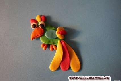 Попугай из пластилина поэтапно