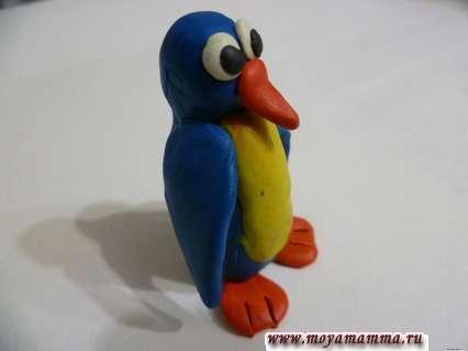 пингвин из пластилина для детей