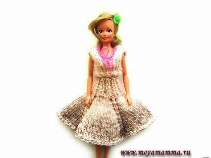 как связать юбку для куклы Барби