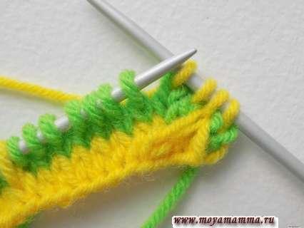 Вязание двухцветного ленивого узора