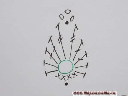 Схема вязания узора крючком