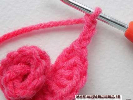 Завершение вязания розочки крючком
