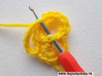 Вязание цветочка крючком
