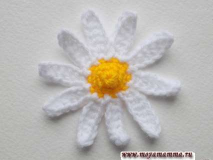 Ромашка крючком. Вязание крючком цветок ромашки