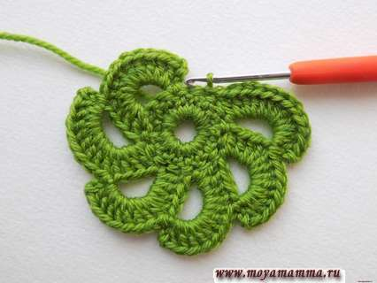 вязание круглого листочка
