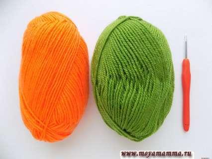 Пряжа для вязания аппликации и крючок