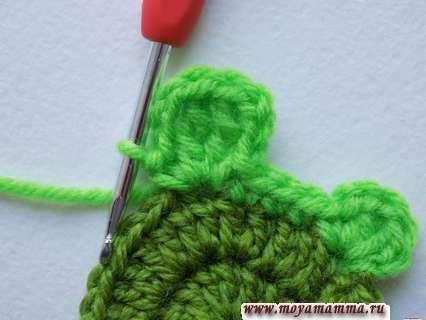 вязание головы черепашки крючком