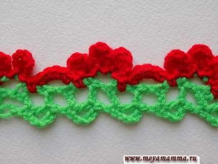 Вязание двухцветной каймы крючком с описанием