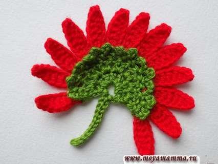 Цветок крючком двух цветов