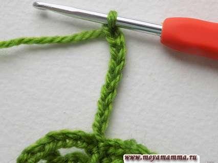 Вязание стебелька ажурного листочка крючком