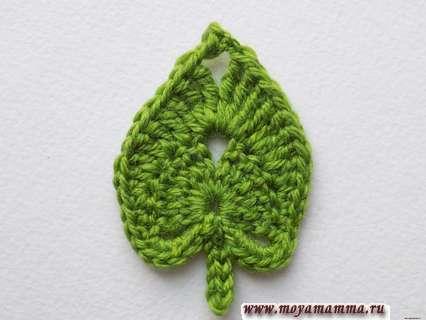 Вязание листика липы крючком