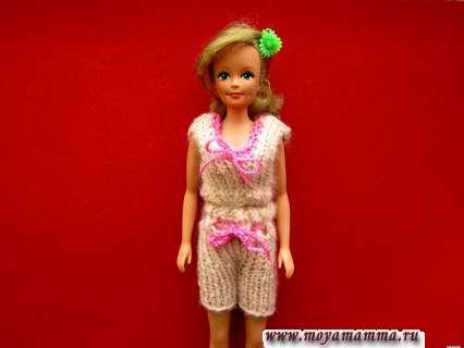 Летний наряд спицами для куклы Барби