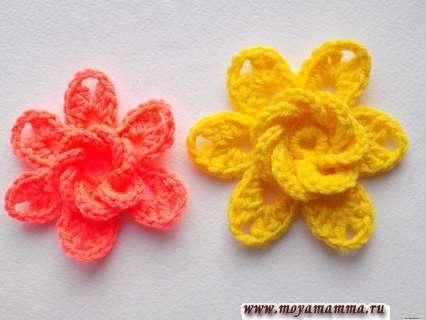 Как связать крючком цветочек с объемной серединкой