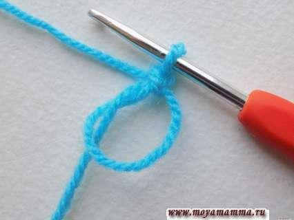 Начало вязания ракушки