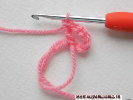 вывязывание столбика с накидом в эту же петлю