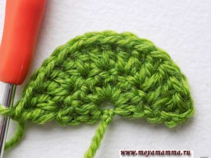 второй ряд вязания цветка