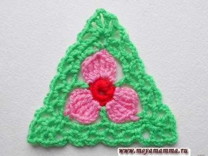 треугольный мотив цветок крючком