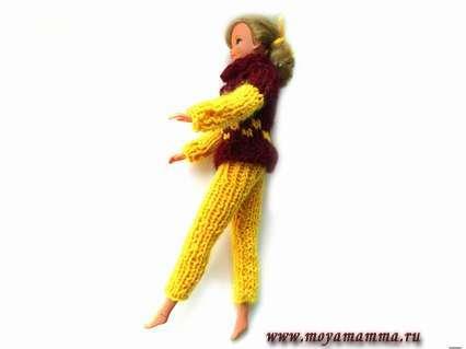 Как связать штаны для куклы Барби