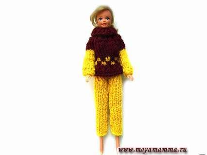 Штаны для куклы Барби на спицах