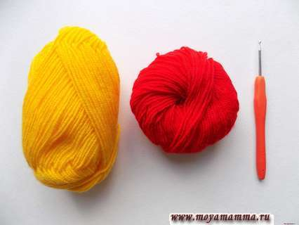 пряжа желтого и красного цвета