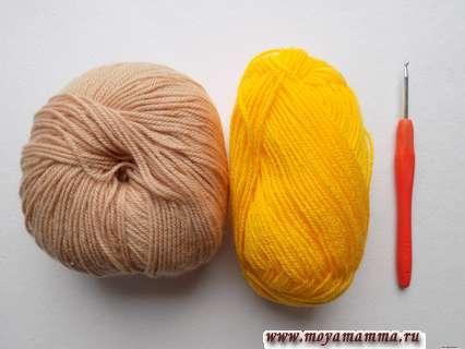 пряжа бежевого и желтого цвета