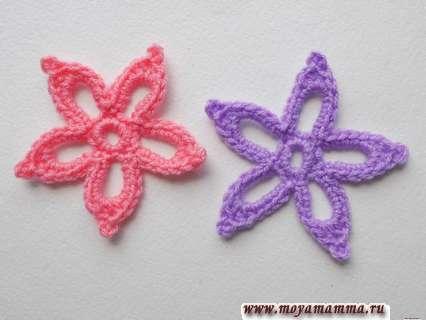 Как связать крючком цветочек с пятью лепестками