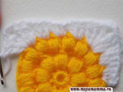 вязание квадратного мотива солнышко