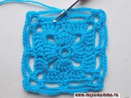 вязание квадрата крючком