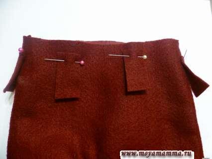 Приколоть шлевки к штанам