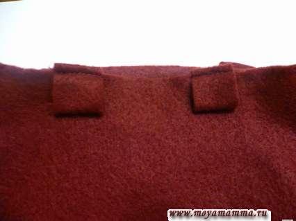 Пришивание шлевок на месте пояса штанов