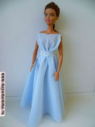 Голубое длинное платье для барби без шитья