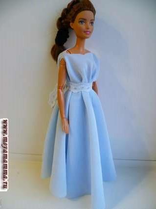 Длинное платье для куклы без шитья с кружевным бантом