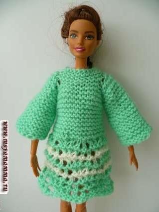 вязаное ажурное платье для барби